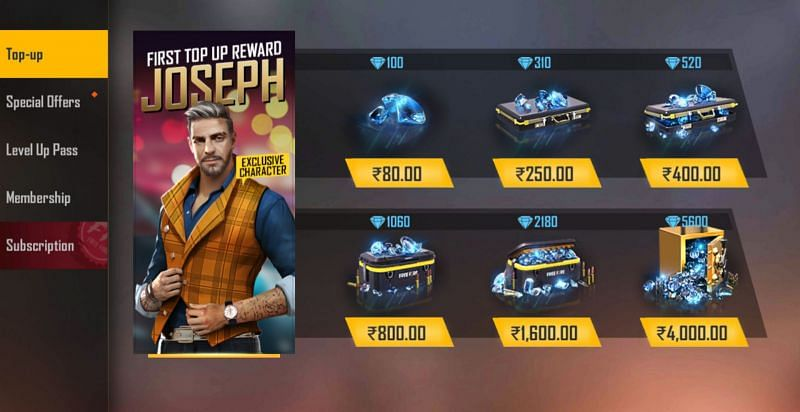 Various top-up options will appear on the screen.