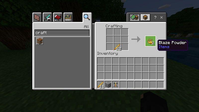 Place a blaze rod into your crafting menu to make blaze powder