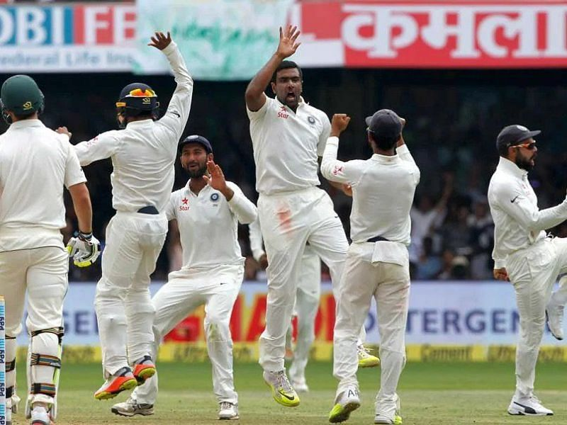 Team India celebrates after beating Australia in a thrilling 76-run win at Bengaluru