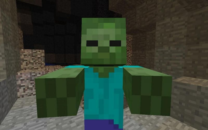 A zombie in Minecraft (Image via programminglibrarian.org)