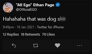 A tweet from Ethan Page was quickly deleted after seeing the match on IMPACT Wrestling Hard To Kill.