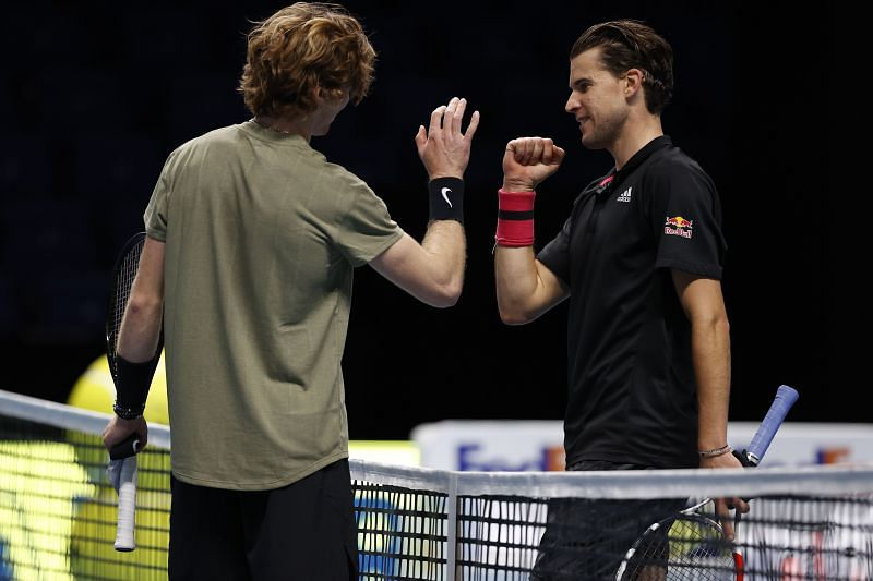 Andrey Rublev and Dominic Thiem at the Nitto ATP World Tour Finals at The O2 Arena in November 2020 in London, England