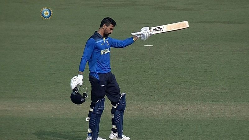 Bengal opener Vivek Singh after reaching his maiden T20 hundred [Image Credits: BCCI Domestic]
