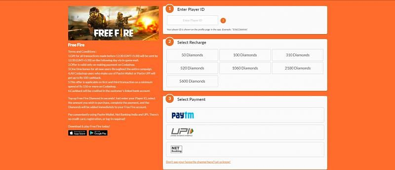 Enter the Free Fire ID and select the recharage amount.