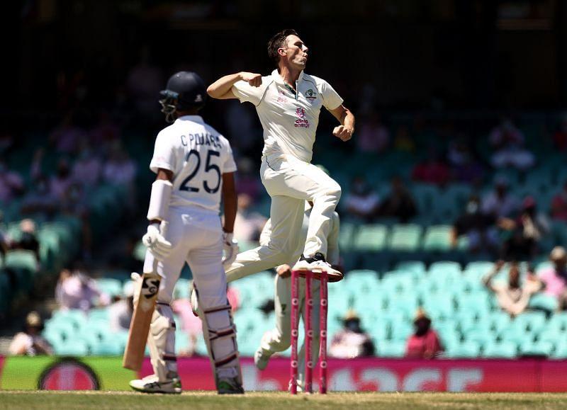 Pat Cummins celebrates after picking up the wicket of Cheteshwar Pujara.