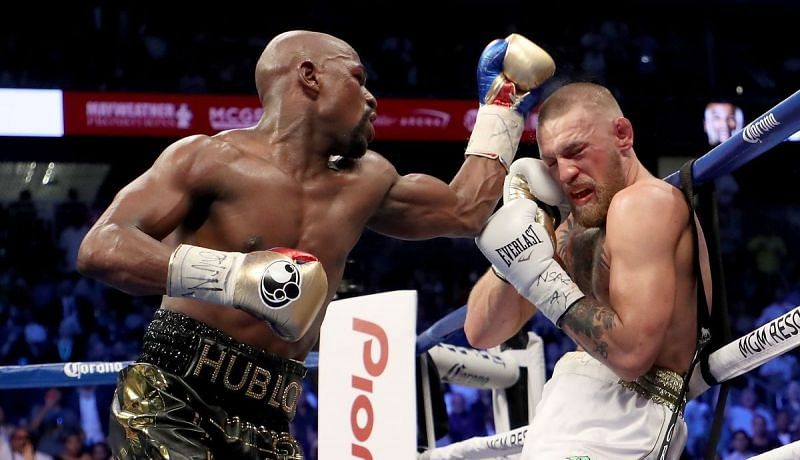 Floyd Mayweather (left); Conor McGregor (right)