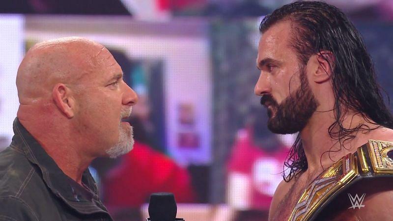 Goldberg returned on RAW to challenge Drew McIntyre.