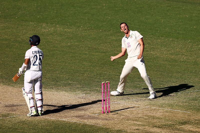 Josh Hazelwood celebrating the prized wicket of Cheteshwar Pujara