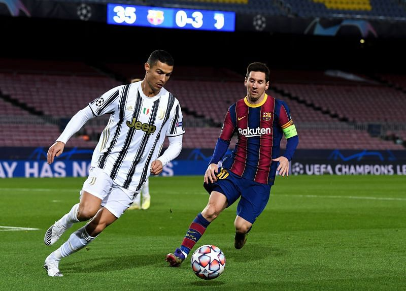 Cristiano Ronaldo and Lionel Messi in action for Juventus and Barcelona respectively