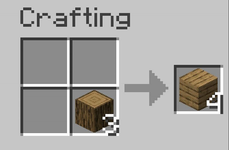 To make wooden planks place the logs in crafting table.png