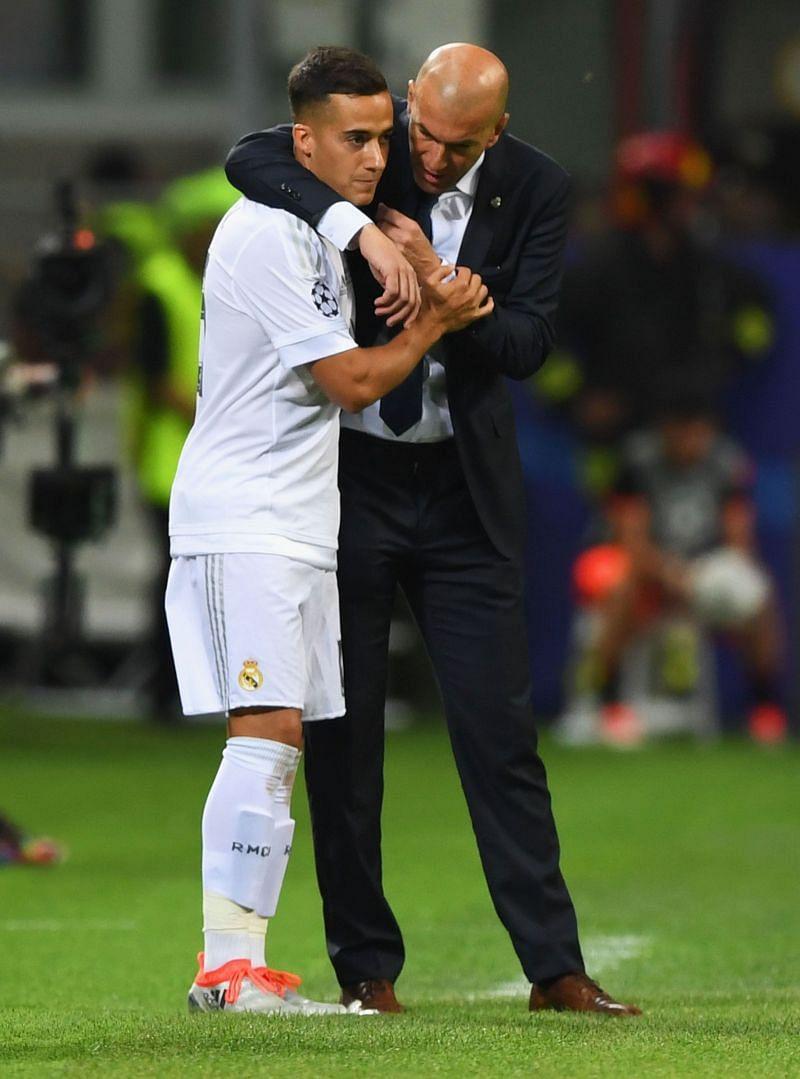 Lucas Vazquez (left) and Zinedine Zidane