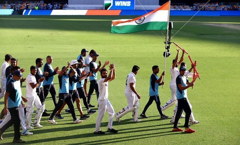 Ajinkya Rahane leads Team India's victory lap after the Gabba triumph. Pic: Twitter
