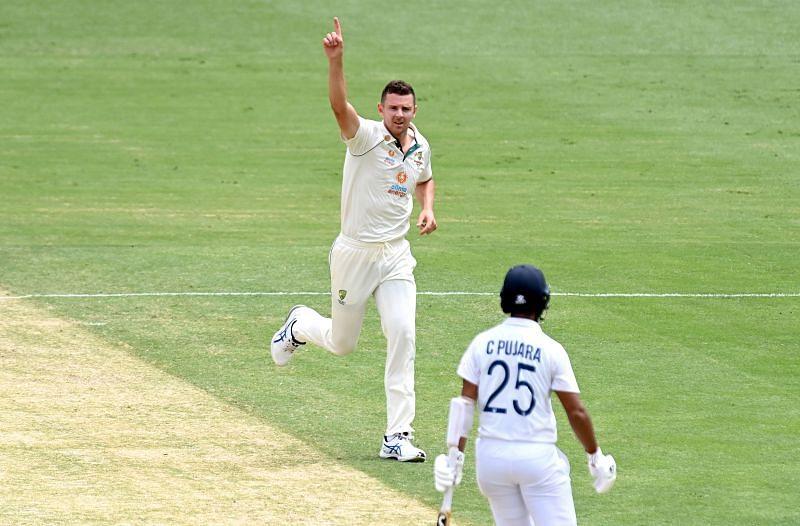 Josh Hazlewood (left) took five wickets in India