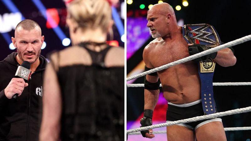 Randy Orton (left); Goldberg (right)