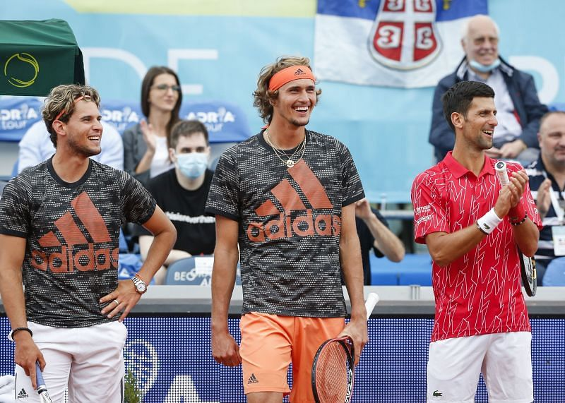 (From L to R) Dominic Thiem, Alexander Zverev and Novak Djokovic