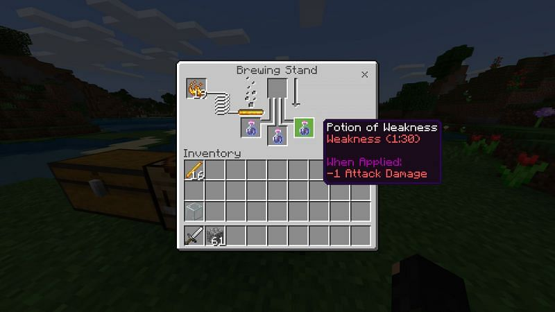 Crafting a potion of weakness Step 1