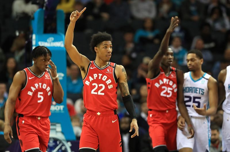 Patrick McCaw #22 of the Toronto Raptors reacts after a play against the Charlotte Hornets during their game at Spectrum Center on January 08, 2020 (Photo by Streeter Lecka/Getty Images)