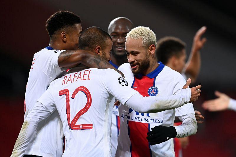 Rafinha Alcantara celebrating with his PSG teammates