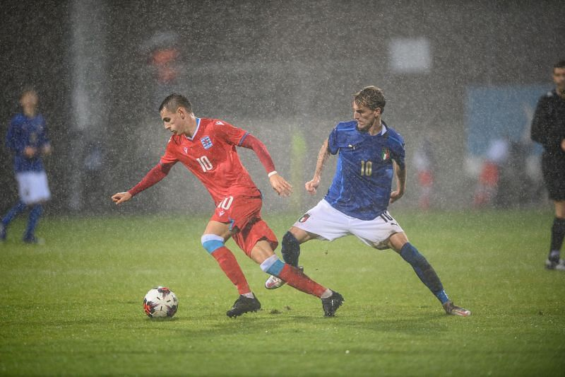 Nicolo Rovella in action for Italy Under-21s
