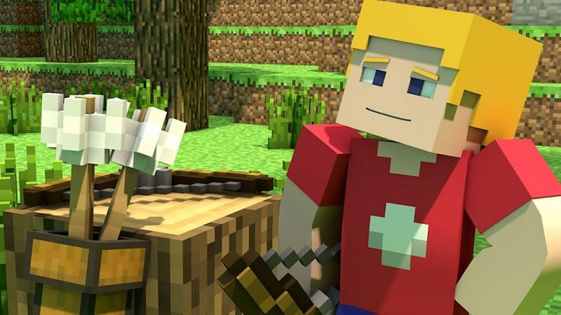 A character in Minecraft holding a bow. (Image via YouAlwaysWin/YouTube)