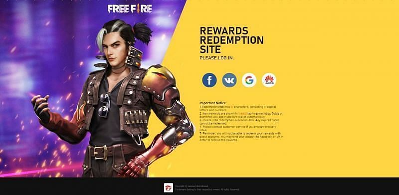 Official redemption website of Free Fire