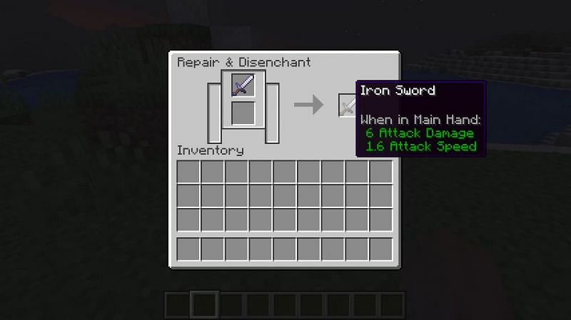 Removing the enchantment from an iron sword in Minecraft. (Image via Minecraft)