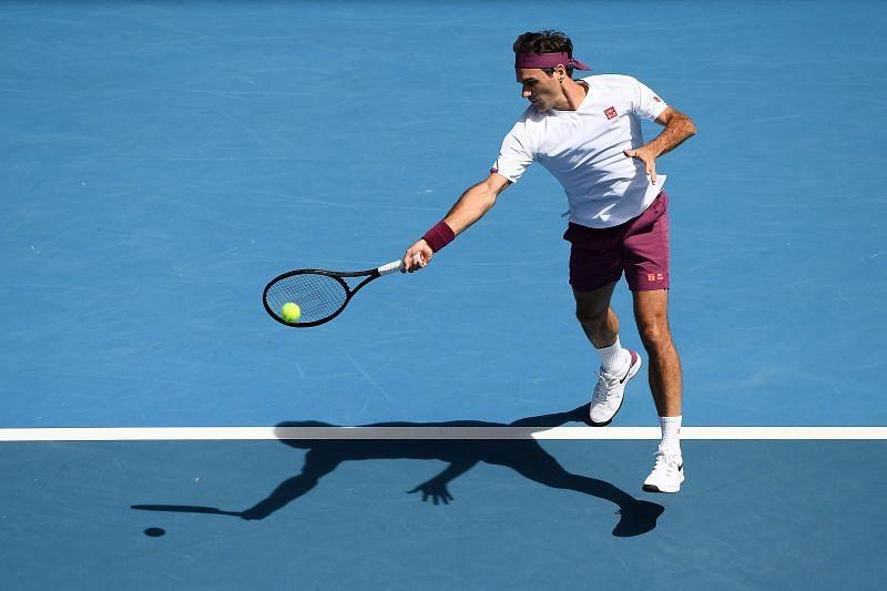 Roger Federer unleashing a forehand