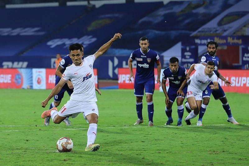Bengaluru FC skipper Sunil Chhetri will aim to do well against his former side (Courtesy - ISL)