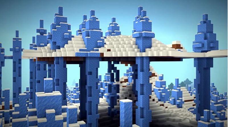 A snowy piece of land that has been impaled by ice spikes midair in Minecraft. (Image via Minecraft & Chill/YouTube)