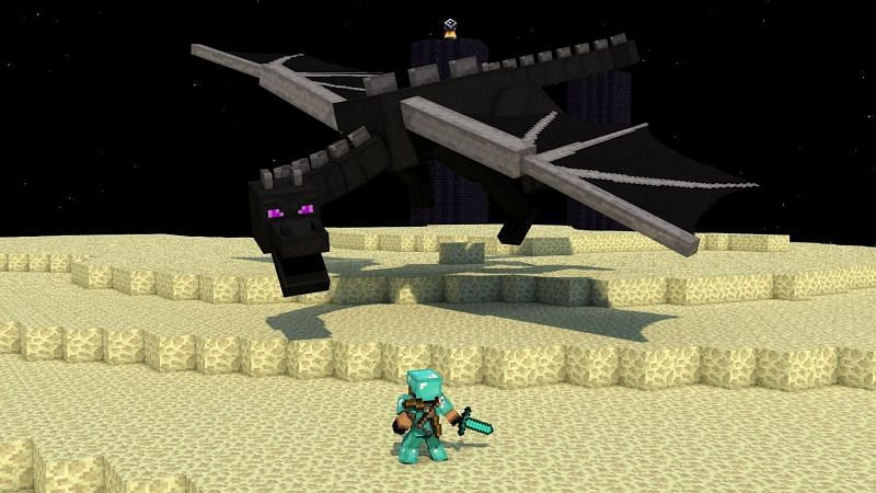 A character in full diamond armor facing off against the Ender Dragon in Minecraft. (Image via wallpapercave.com)