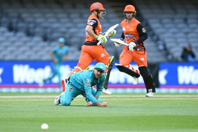 Action from the BBL game between Perth Scorchers and Brisbane Heat.