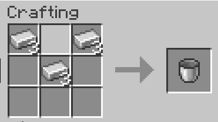 Buckets are made with three pieces of iron in a v-formation in a crafting table
