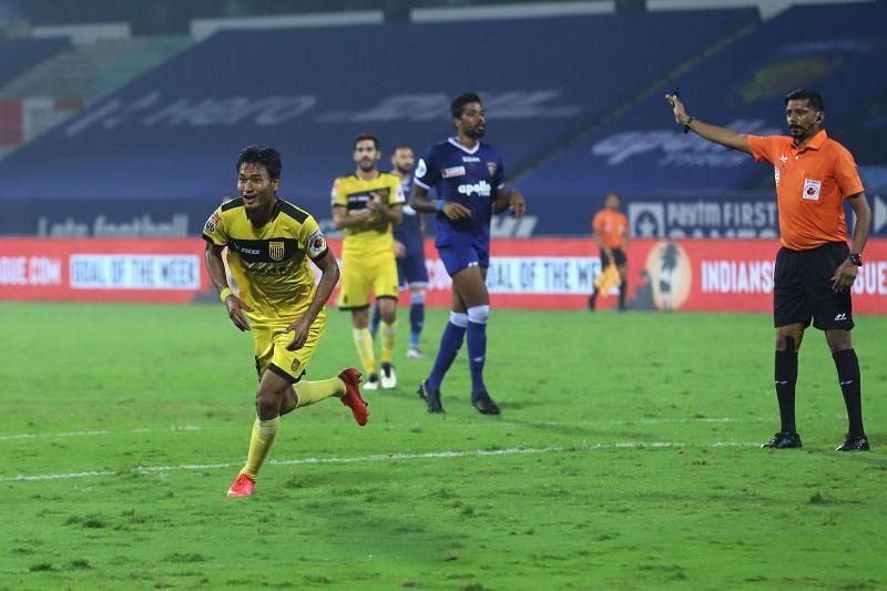 Halicharan Narzary scored a brace for Hyderabad FC against Chennaiyin FC (Image Courtesy: ISL Media)