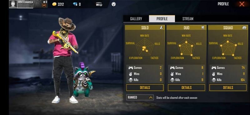 Gaming Subrata's ranked stats in Free Fire