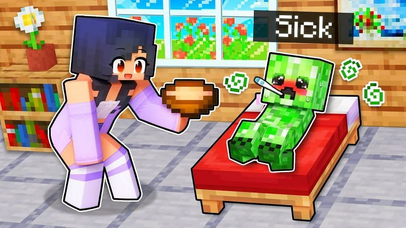 Aphmau offering soup to a sick Creeper in Minecraft. (Image via Aphmau/YouTube)