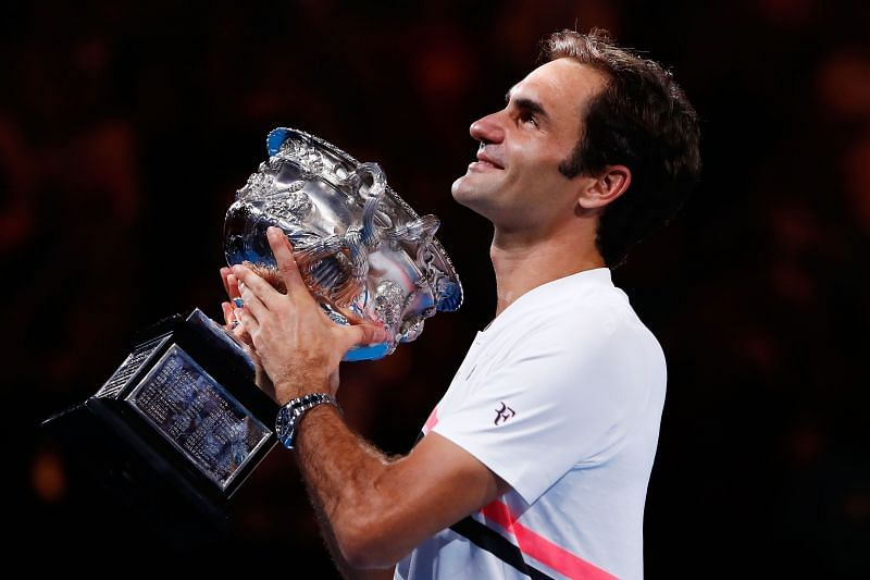 Roger Federer with his 2018 Australian Open title