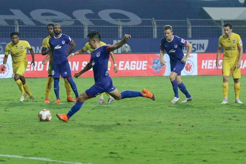 Sunil Chhetri is the only regular scorer for Bengaluru FC in the ongoing ISL season. (Image: ISL)