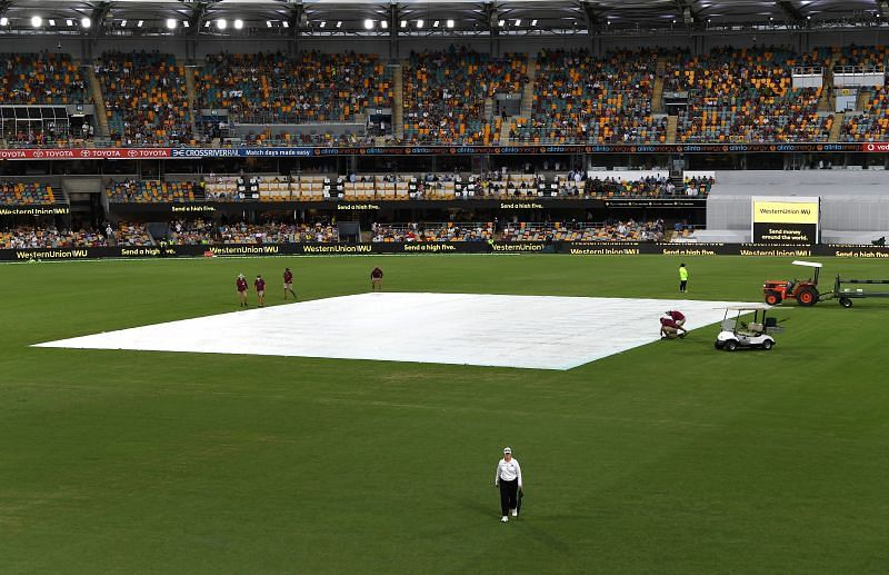 Rain covers dominated the Tea session of the 4th Test between India and Australia