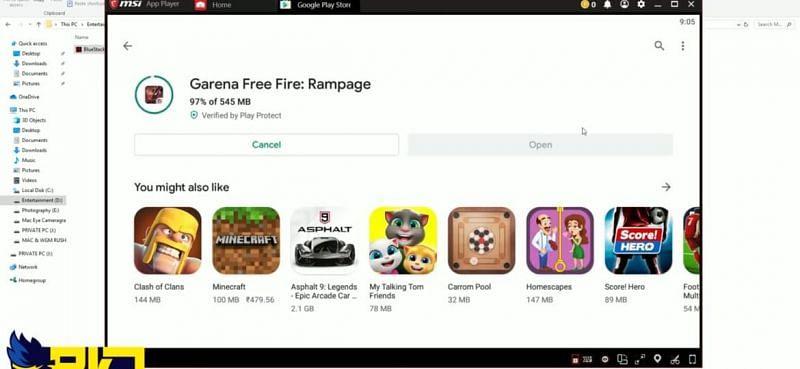 Free Fire को गूगल प्ले स्टोर पर सर्च करें और इंस्टॉल करें (Image via RKV Gaming/YouTube)