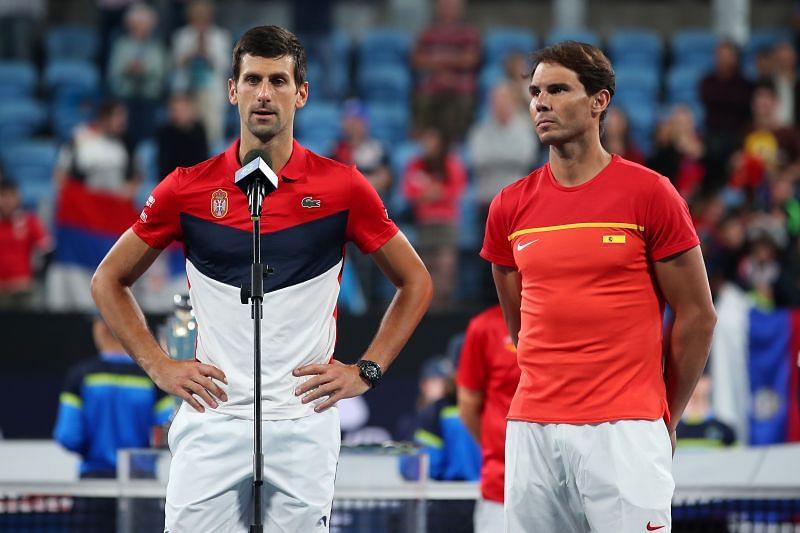Novak Djokovic (L) and Rafael Nadal at ATP Cup 2020