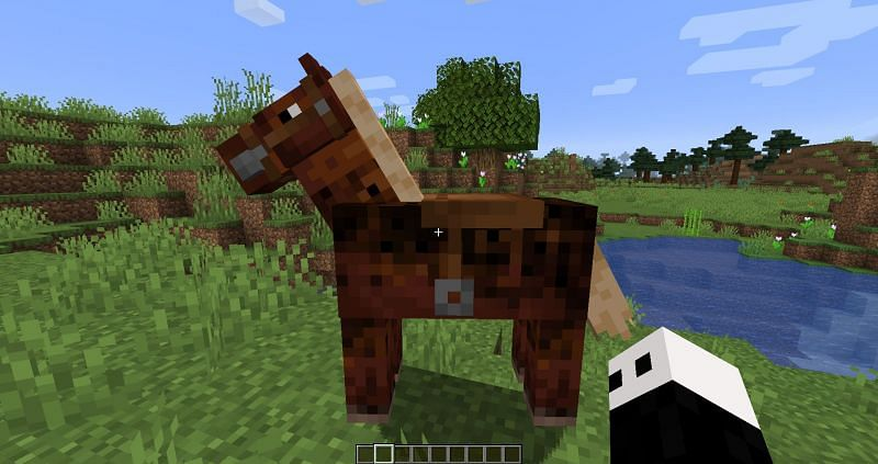 A horse in Minecraft (Image via Sportskeeda)