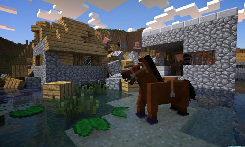 A horse wearing a saddle that is near two trampled buildings in Minecraft. (Image via cdn.wallpapersafari.com)