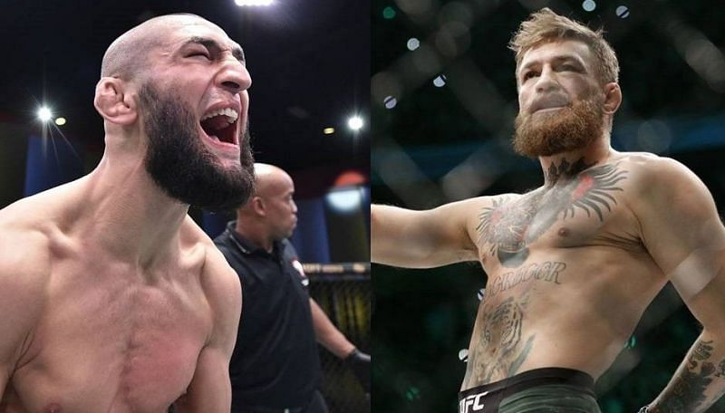 Khamzat Chimaev (left); Conor McGregor (right)