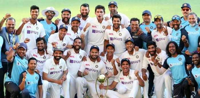 The Indian Cricket Team celebrates at the Gabba after a record-breaking Test series win Down Under.