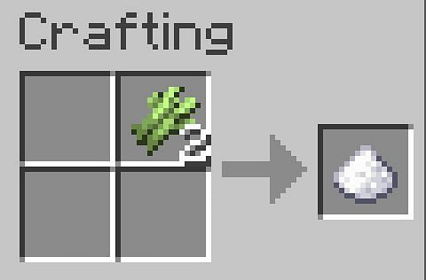 Sugar can be made by placing a piece of sugar cane into a crafting table
