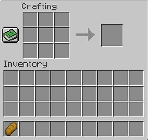 Placing the bread in the inventory in Minecraft