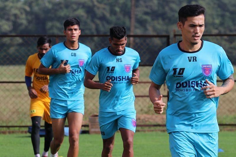 Odisha FC players in training ahead of their Kerala Blasters FC clash (Courtesy - ISL)