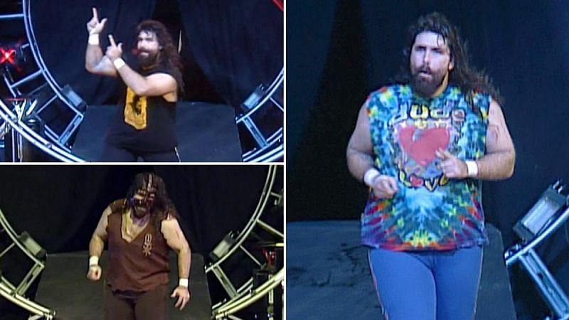 Mick Foley as Cactus Jack and Mankind (left); Mick Foley as Dude Love (right)