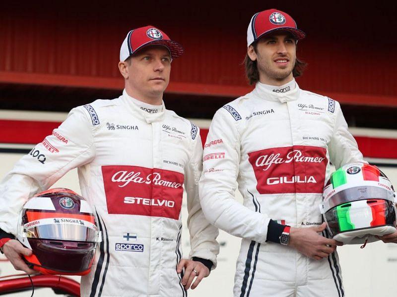 Kimi Raikkonen (left) and Antonio Giovinazzi (right) were retained by Alfa Romeo for the 2021 season.
