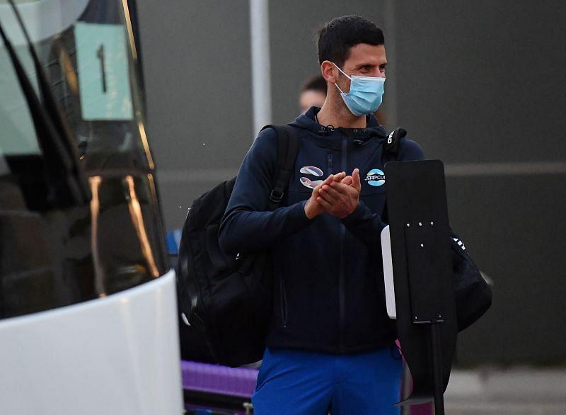 Novak Djokovic arrives in Adelaide, Australia on 14 January 2021